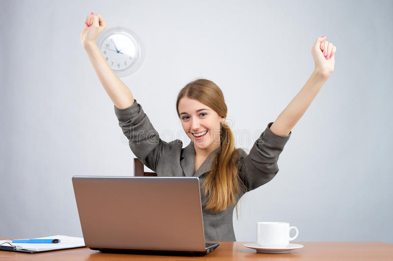Download Businesswoman At Desk With Arms Thrown Up Stock Image - Image: 18994661
