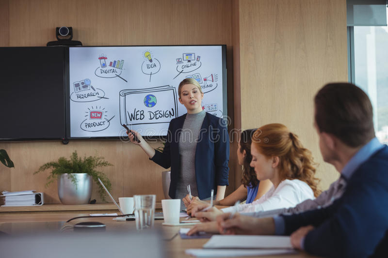 Businesswoman discussing with colleagues over whiteboard during meeting. In board room stock photo