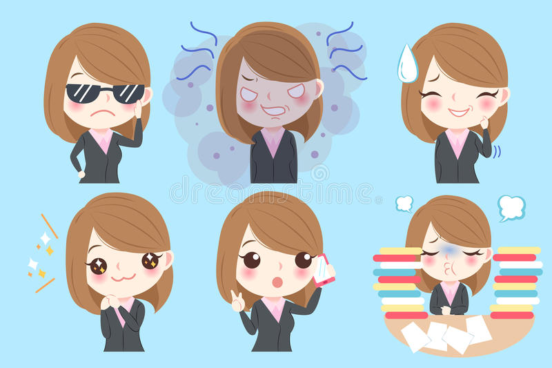 Businesswoman do different emotion royalty free illustration