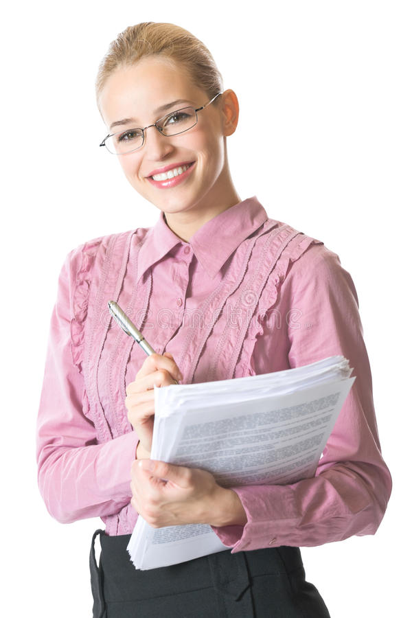 Businesswoman with documents. Isolated on white royalty free stock photo