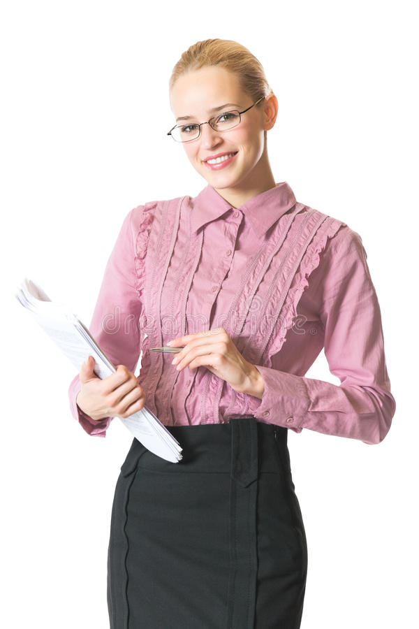 Businesswoman with documents. Isolated on white stock photos