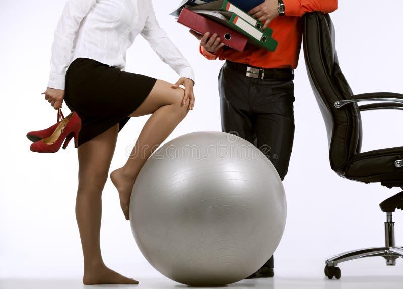 Businesswoman doing exercise royalty free stock photos