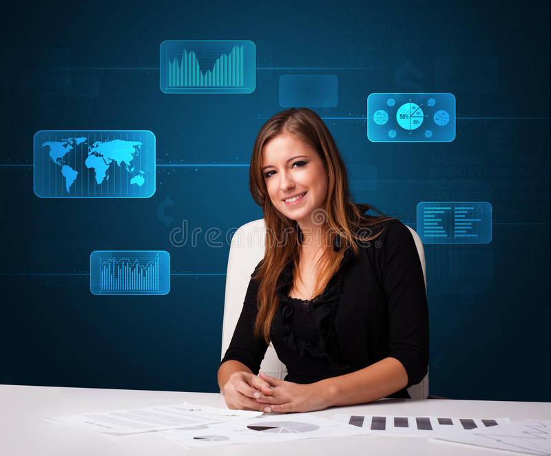 Download Businesswoman Doing Paperwork With Digital Background Stock Photo - Image: 28805220