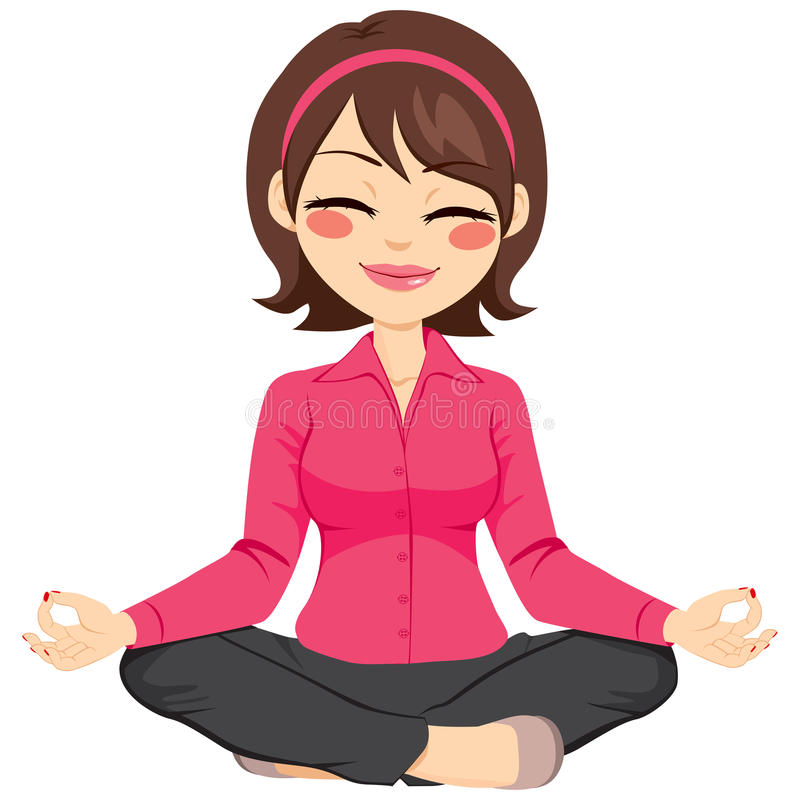 Businesswoman Doing Yoga. Young businesswoman in yoga lotus pose relaxing happy royalty free illustration