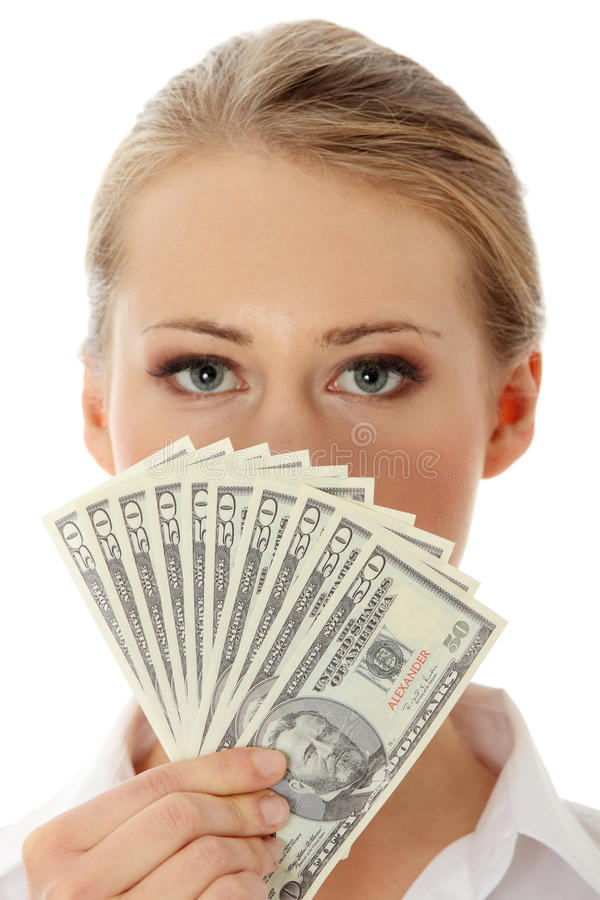 Businesswoman with dollars stock images