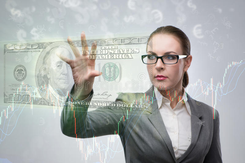 The businesswoman with dollars in business concept. Businesswoman with dollars in business concept royalty free stock images