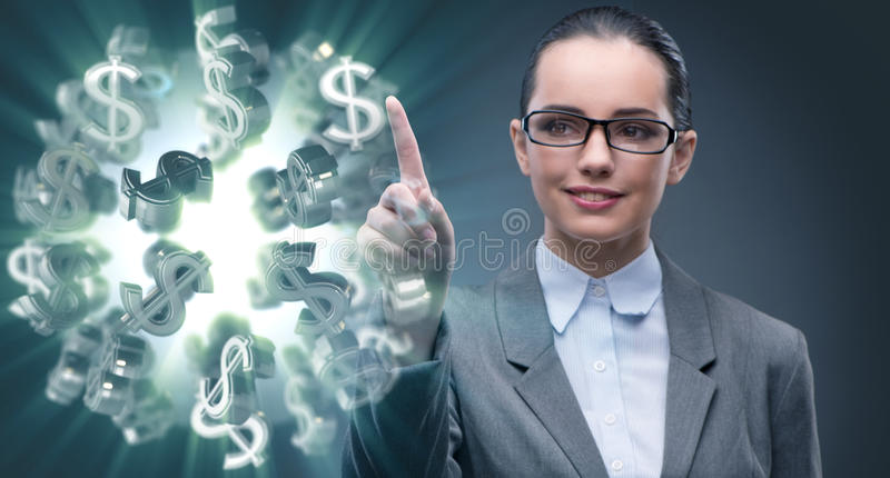 The businesswoman with dollars in business concept. Businesswoman with dollars in business concept royalty free stock photo