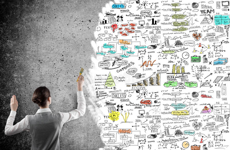 Businesswoman drawing a business plan royalty free stock photo