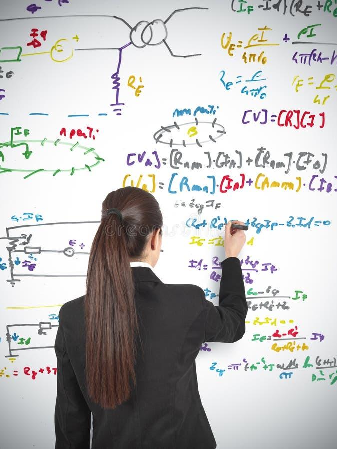 Businesswoman drawing formula royalty free stock image