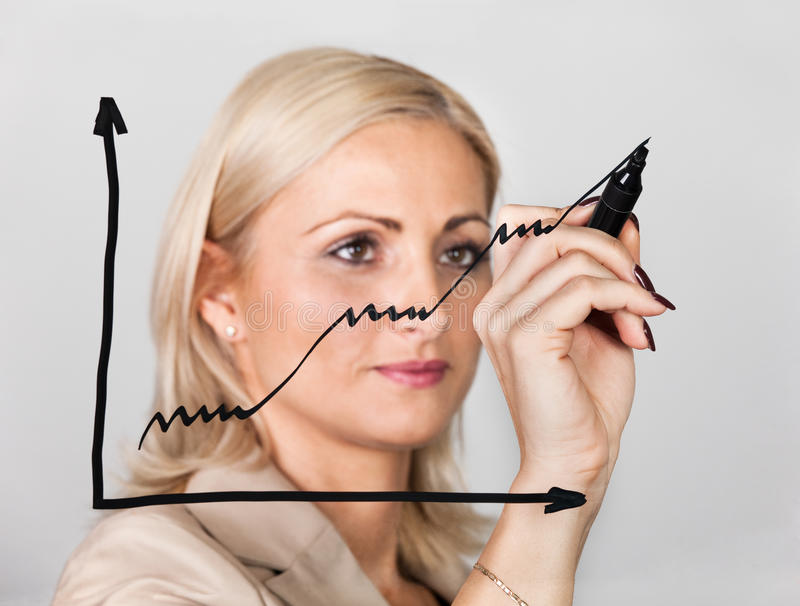 Businesswoman drawing growth chart royalty free stock photos