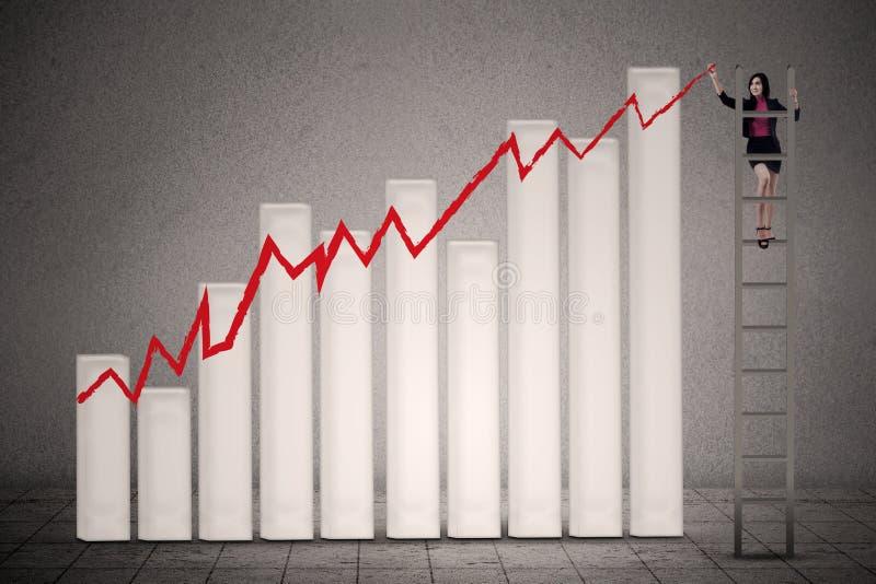 Businesswoman drawing profit chart stock photos
