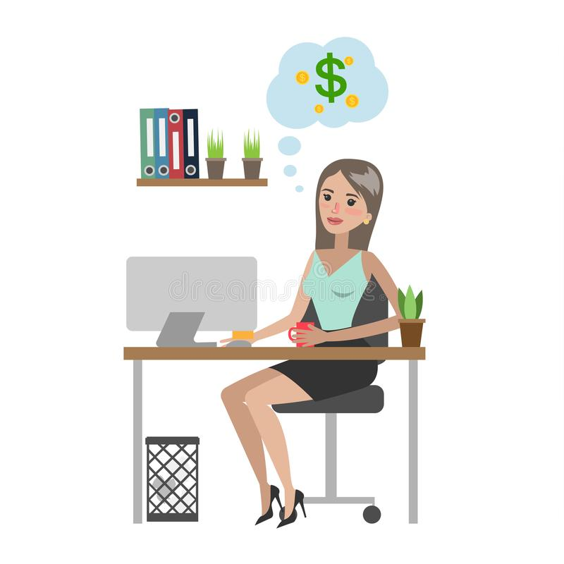 Businesswoman dreaming about money. Businesswoman dreaming about money and sitting at office stock illustration
