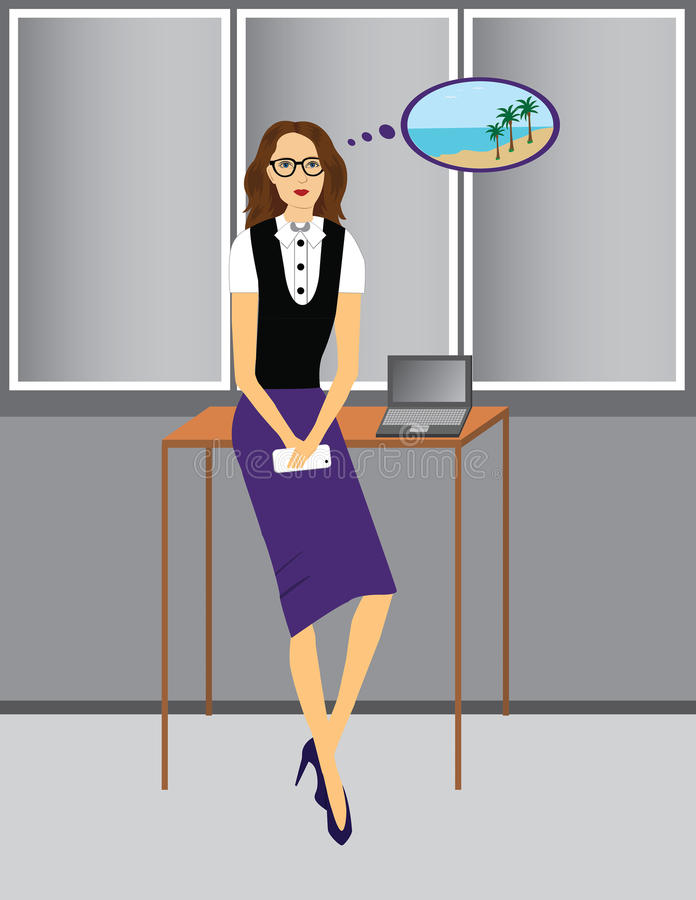 Businesswoman dreaming about vacation stock photos