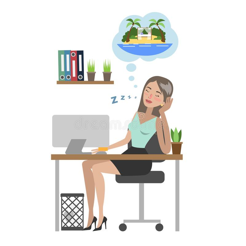 Businesswoman dreaming about vacation. Businesswoman dreaming about vacation and sitting at office royalty free illustration