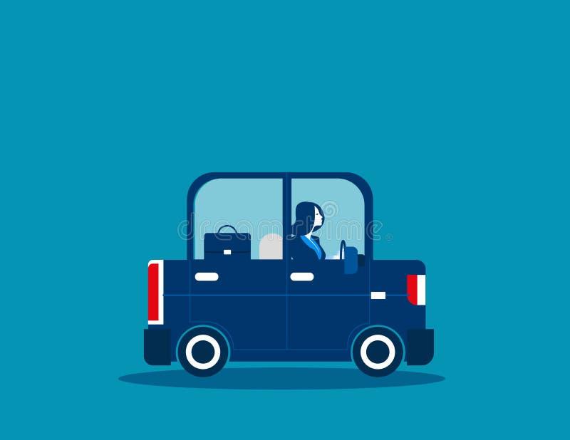Businesswoman driving car. Concept business illustration. Vector. Business transport vector illustration