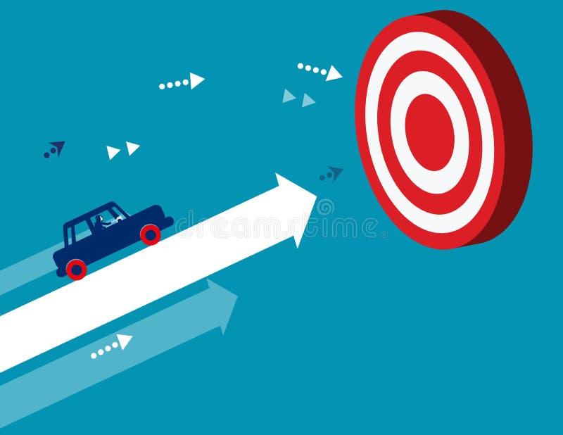 Businesswoman driving reach goal. Concept business vector illustration. Flat business cartoon, Driving, Car, Target vector illustration
