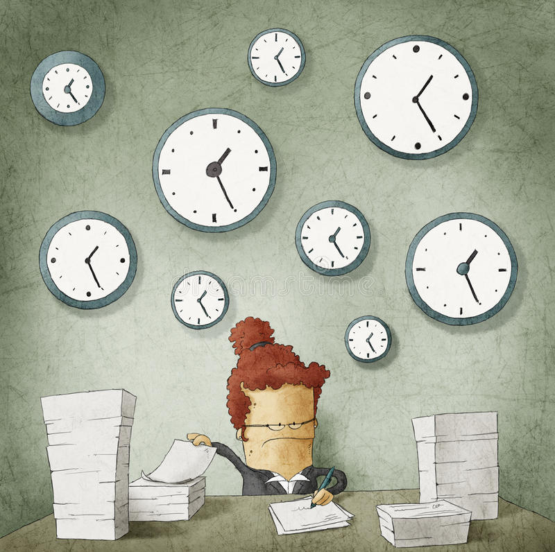 Businesswoman drowning in paperwork.Clocks on wall stock illustration