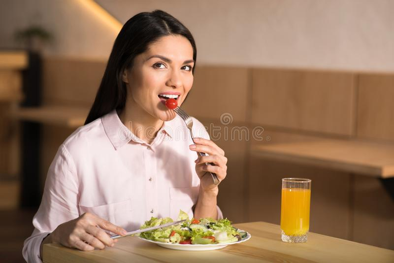 Businesswoman eating salad in cafe. Portrait of caucasian businesswoman eating fresh salad in cafe and looking at camera stock photos