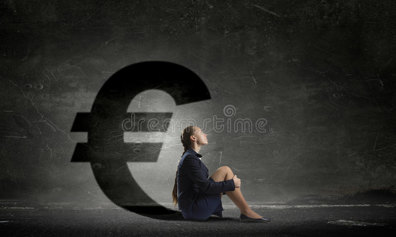 Businesswoman in empty room . Mixed media royalty free stock image