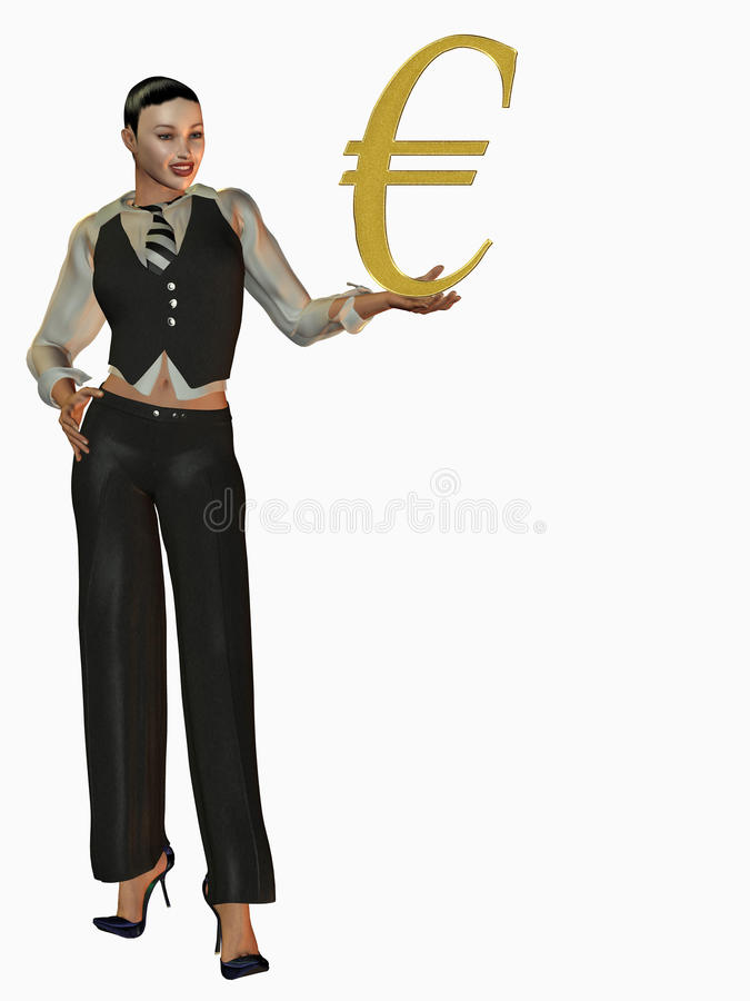 Download Businesswoman With Euro Sign Stock Illustration - Illustration: 13245642