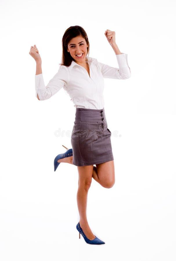 businesswoman excited pose side στοκ εικόνα με δικαίωμα ελεύθερης χρήσης