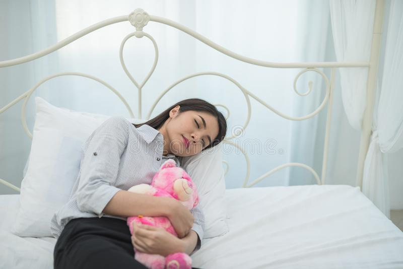 Businesswoman exhausted from working sleeping royalty free stock image