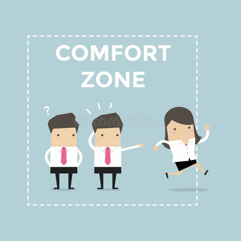 Businesswoman exit from comfort zone. vector illustration
