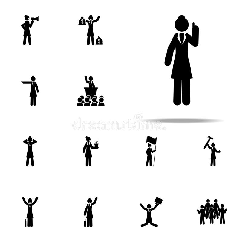 Businesswoman, explain icon. businesswoman icons universal set for web and mobile. On white background royalty free illustration