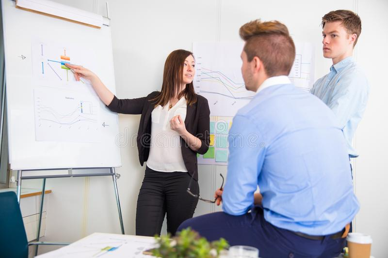 Businesswoman Explaining Chart To Male Professionals stock image