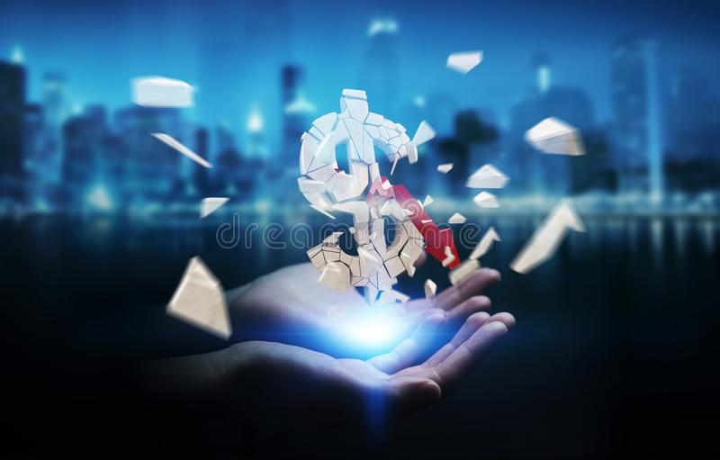 Businesswoman with exploding dollar currency 3D rendering stock illustration