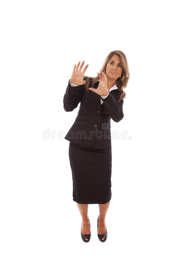 Businesswoman with fear stock photos
