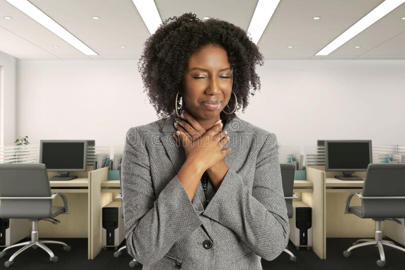 Female Office Worker Feeling Sick with Symptoms stock images