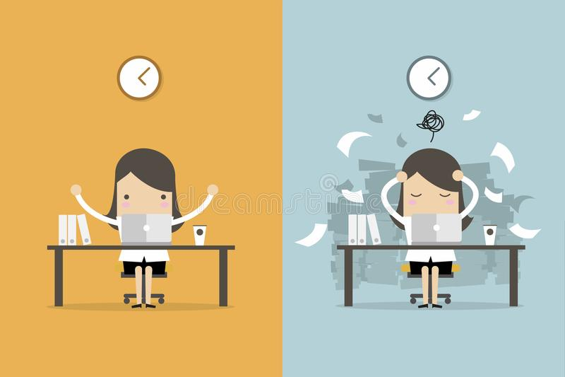 Businesswoman finish working and busy businesswoman unfinished work. Business concept cartoon vector stock illustration