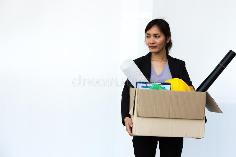 Businesswoman fired from job stand alone royalty free stock images