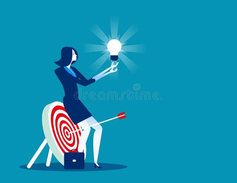 Businesswoman focused on success. Concept business vector illustration stock illustration