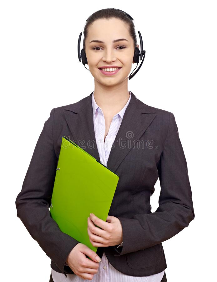 Businesswoman with folders stock images