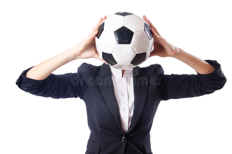 Businesswoman With Football Stock Photography