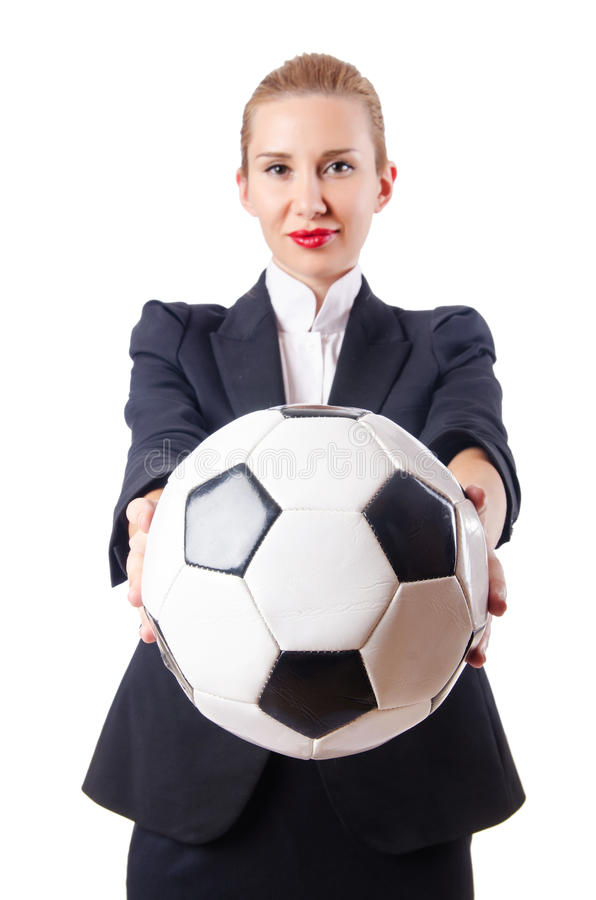 Businesswoman With Football Royalty Free Stock Images