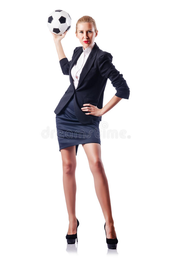 Download Businesswoman With Football Royalty Free Stock Photo - Image: 27494125