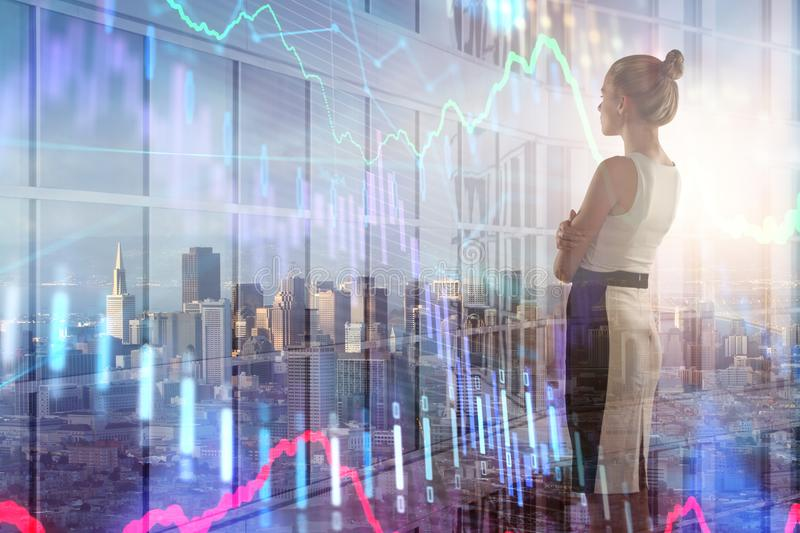 Businesswoman with forex chart royalty free stock image