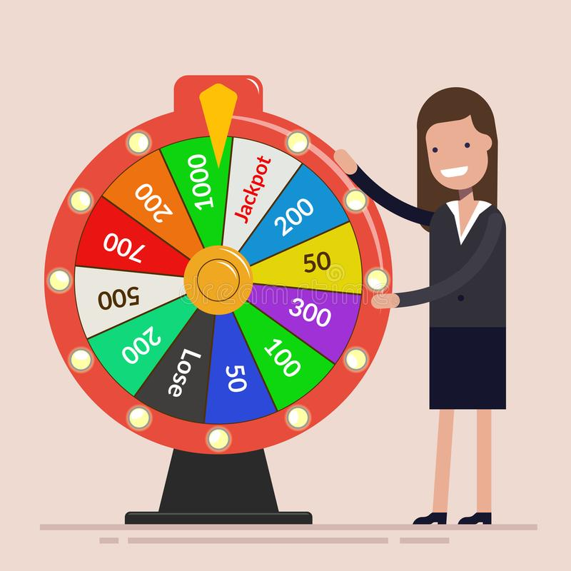 Businesswoman with Fortune`s wheel. Business concept. Happy woman manager in a business suit. Flat vector illustration stock illustration