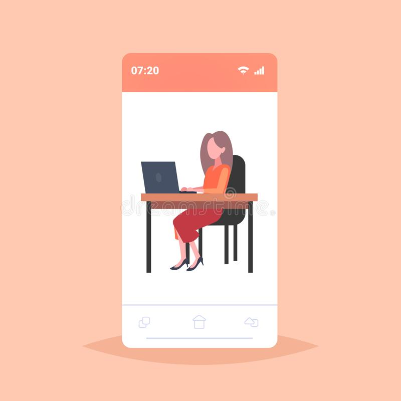 Businesswoman freelancer sitting at workplace business woman using laptop working process freelance concept female royalty free illustration