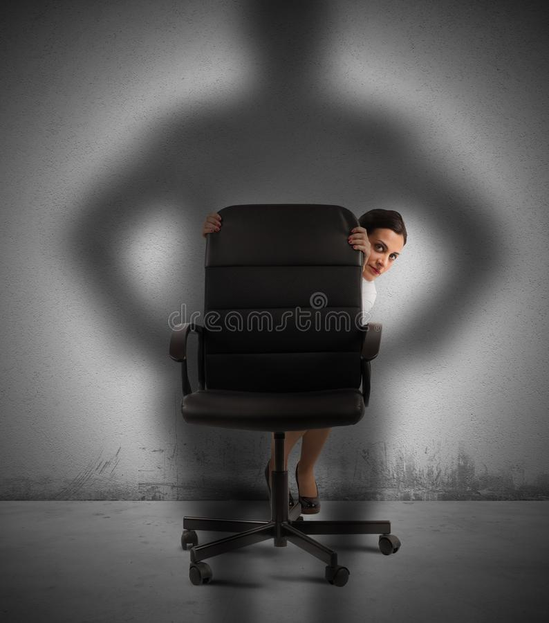 Businesswoman frightened stock images