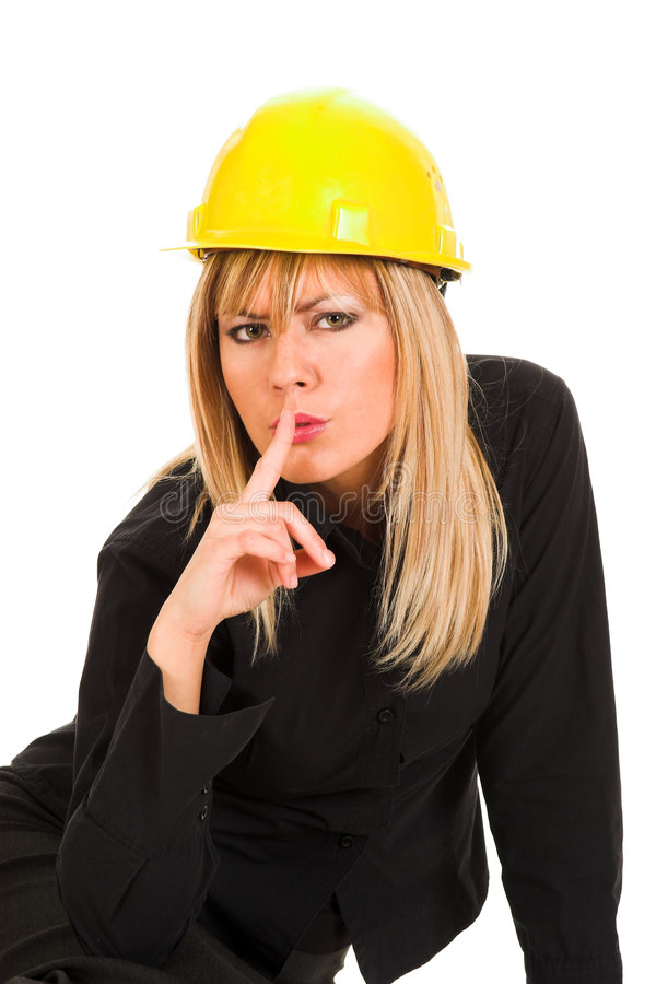 Download A Businesswoman Gestures For Silence Stock Photo - Image: 1584216