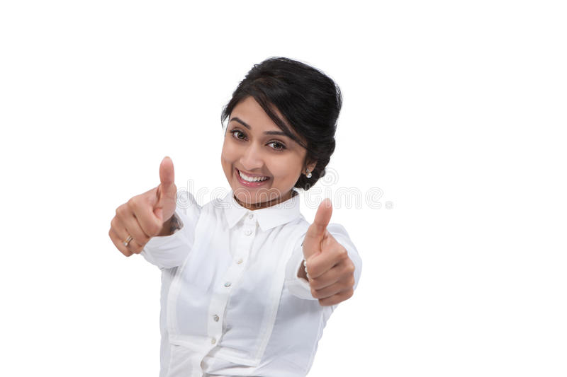 Download Businesswoman Gesturing Thumbs Up Stock Image - Image: 31400437