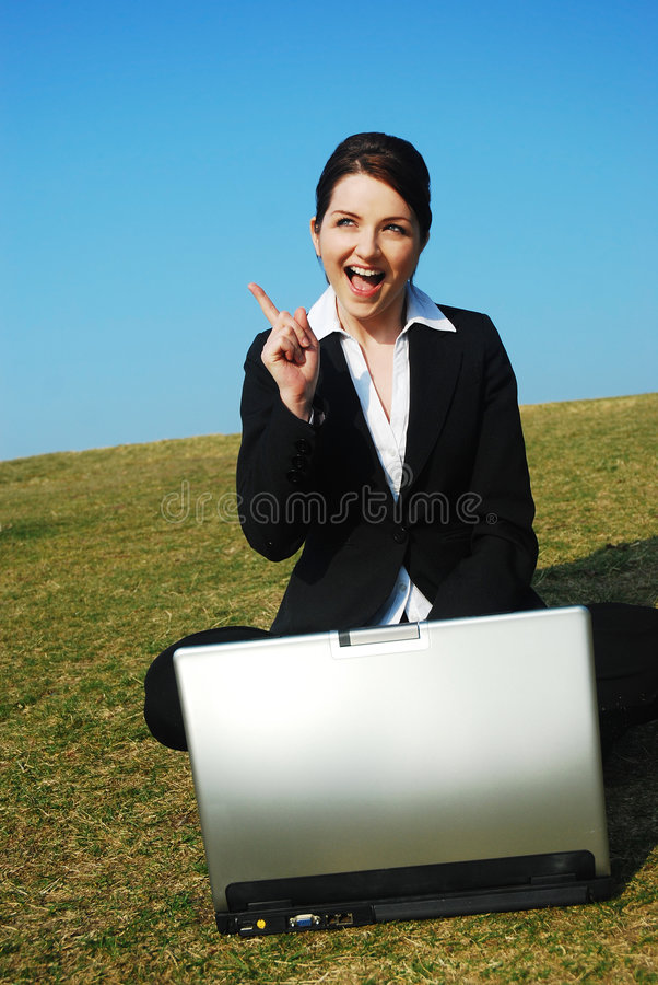 Businesswoman gets an idea stock photos