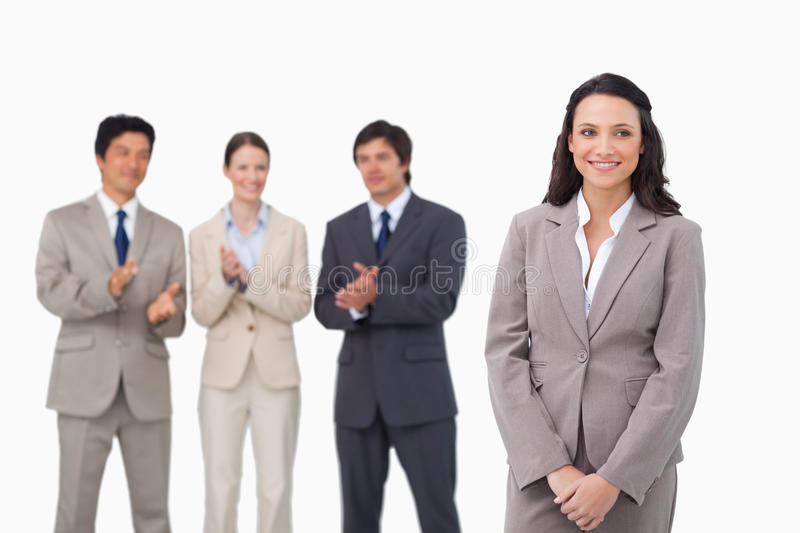 Download Businesswoman Getting Applause By Colleagues Stock Photo - Image: 22861928