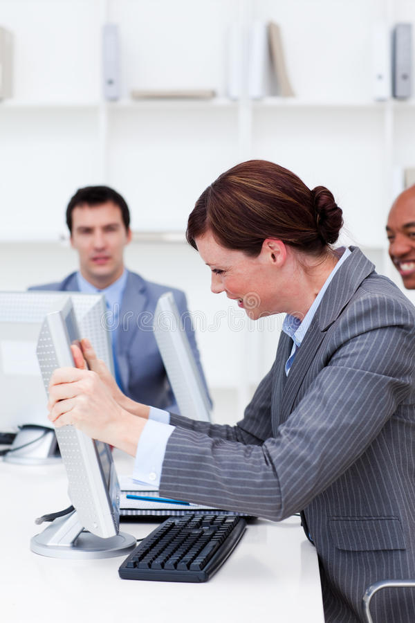 Download Businesswoman Getting Frustrated With A Computer Stock Image - Image: 12024981