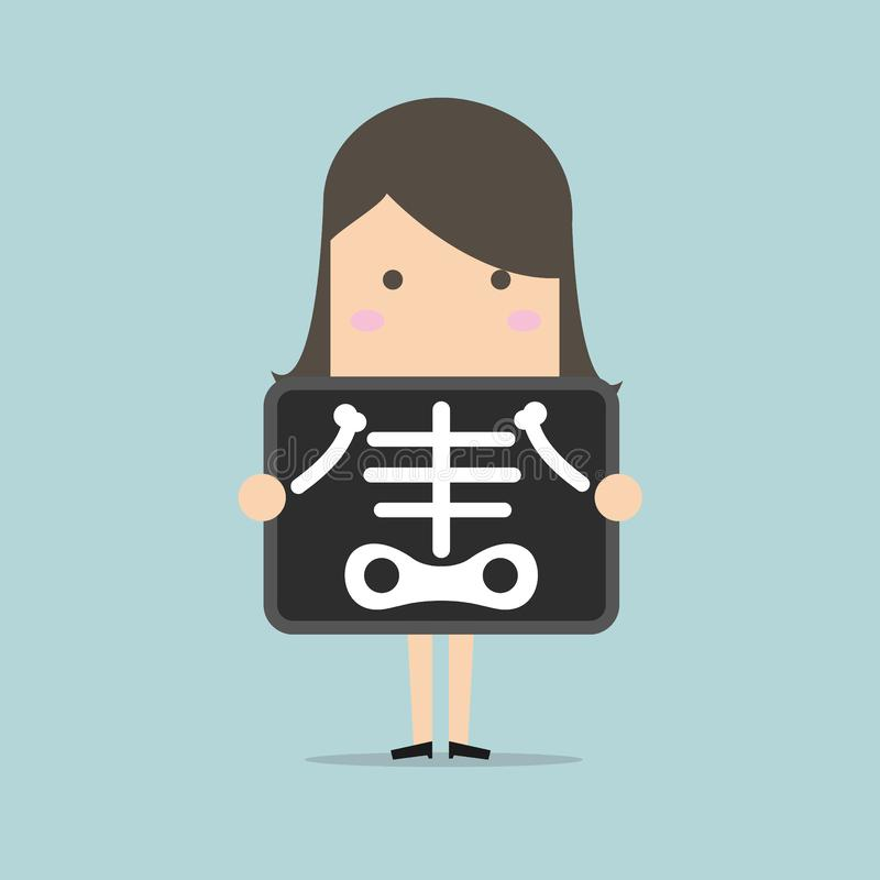 Businesswoman is getting x-ray examination. Vector illustration vector illustration