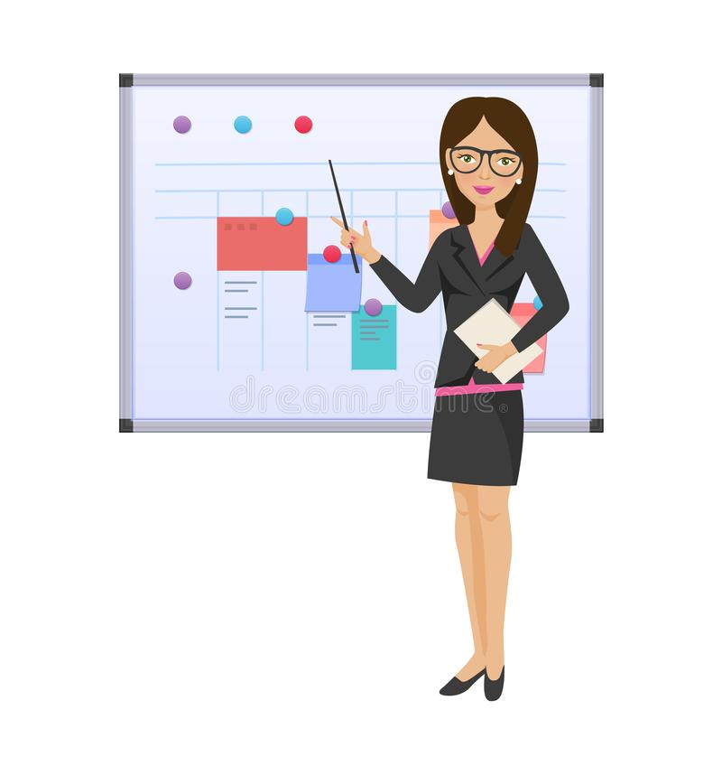 Businesswoman girl with pointer, documents in hands, near magnetic board. vector illustration